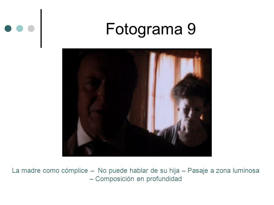 Fotograma 9 La madre como cómplice – No puede hablar de su hija – Pasaje a zona luminosa – Composición en profundidad.