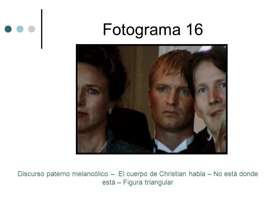 Fotograma 16 Discurso paterno melancólico – El cuerpo de Christian habla – No está donde está – Figura triangular.