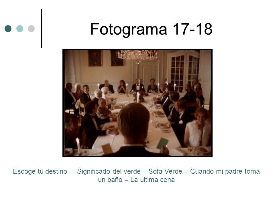 Fotograma 17-18Escoge tu destino – Significado del verde – Sofa Verde – Cuando mi padre toma un baño – La ultima cena.