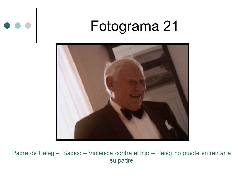 Fotograma 21Padre de Heleg – Sádico – Violencia contra el hijo – Heleg no puede enfrentar a su padre.