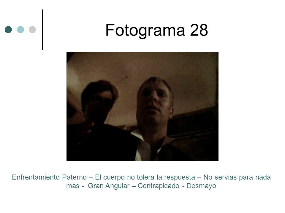 Fotograma 28Enfrentamiento Paterno – El cuerpo no tolera la respuesta – No servias para nada mas - Gran Angular – Contrapicado - Desmayo.