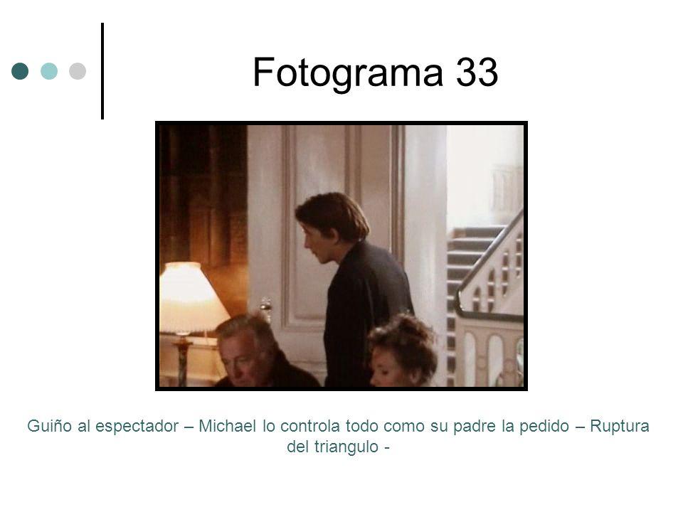 Fotograma 33 Guiño al espectador – Michael lo controla todo como su padre la pedido – Ruptura del triangulo -