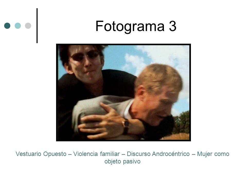 Fotograma 3Vestuario Opuesto – Violencia familiar – Discurso Androcéntrico – Mujer como objeto pasivo.