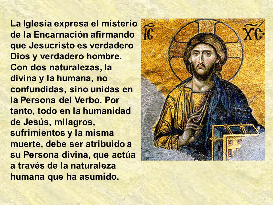 La Iglesia expresa el misterio de la Encarnación afirmando que Jesucristo es verdadero Dios y verdadero hombre.