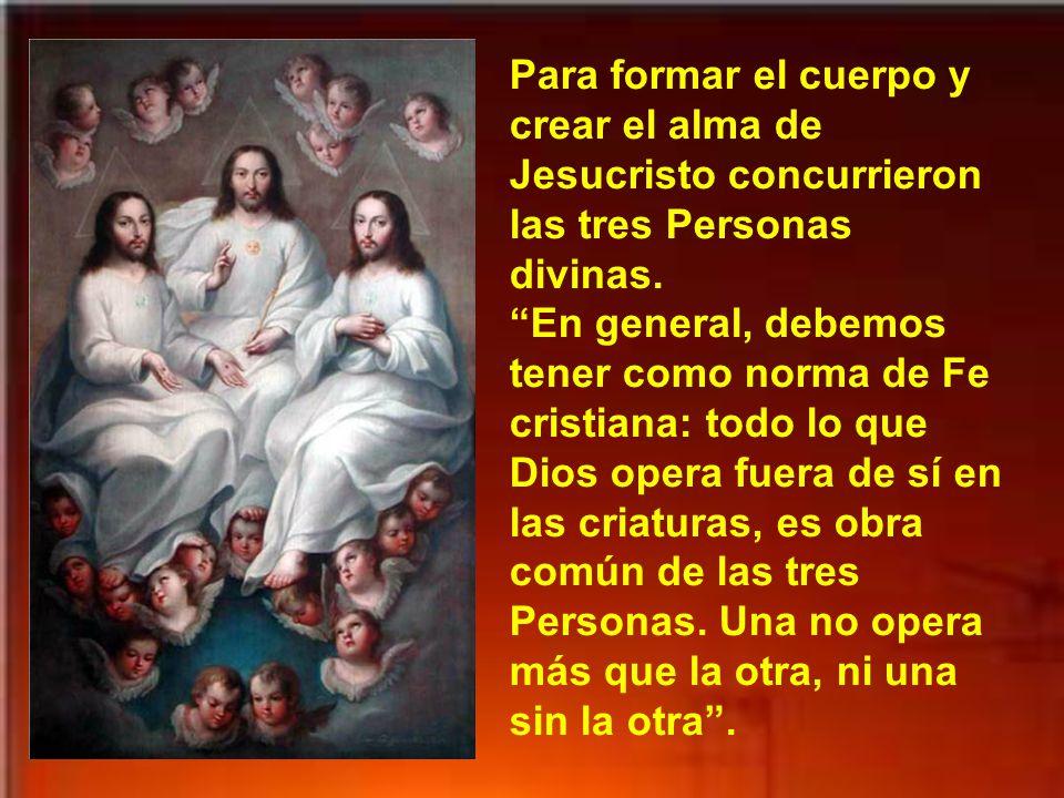 Para formar el cuerpo y crear el alma de Jesucristo concurrieron las tres Personas divinas. En general, debemos tener como norma de Fe cristiana: todo lo que Dios opera fuera de sí en las criaturas, es obra común de las tres Personas.