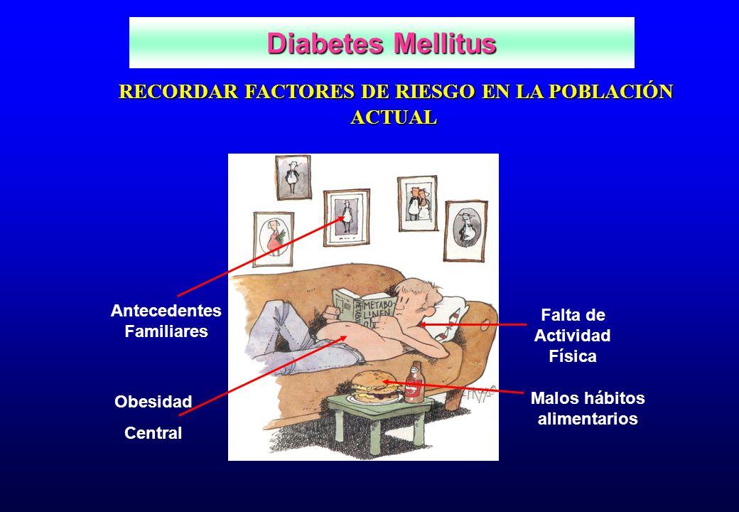 Diabetes Mellitus RECORDAR FACTORES DE RIESGO EN LA POBLACIÓN ACTUAL