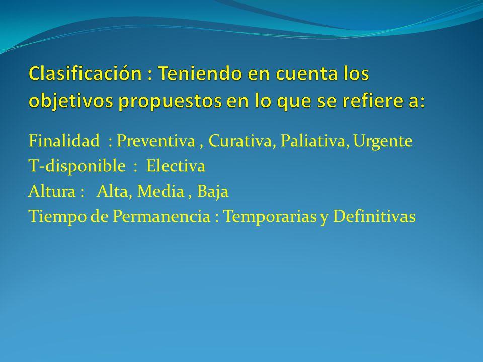 Clasificación : Teniendo en cuenta los objetivos propuestos en lo que se refiere a: