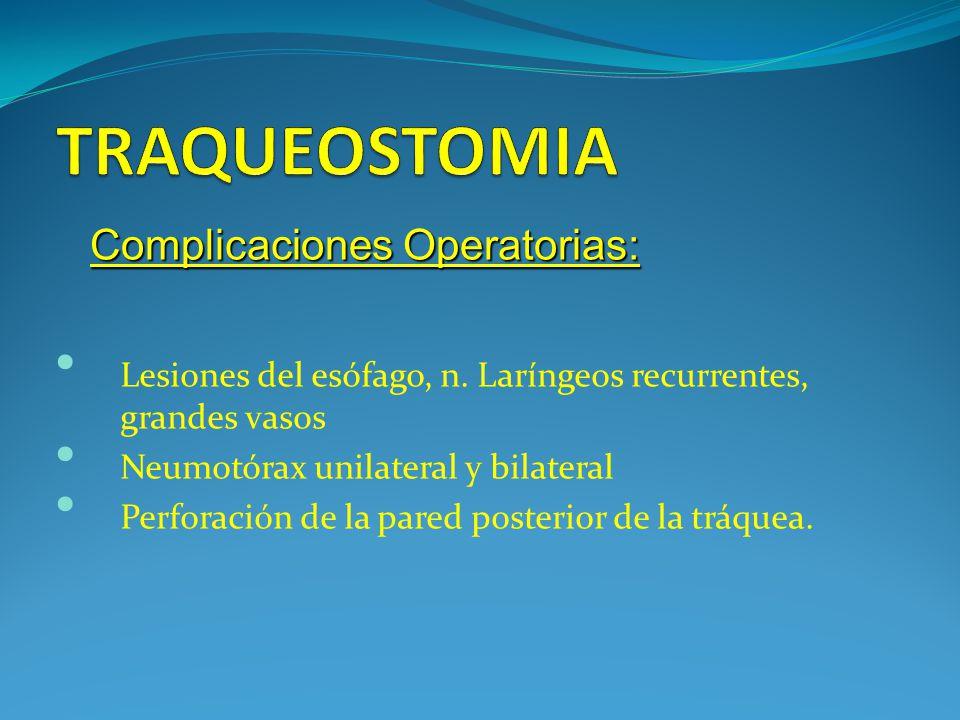 TRAQUEOSTOMIA Complicaciones Operatorias: