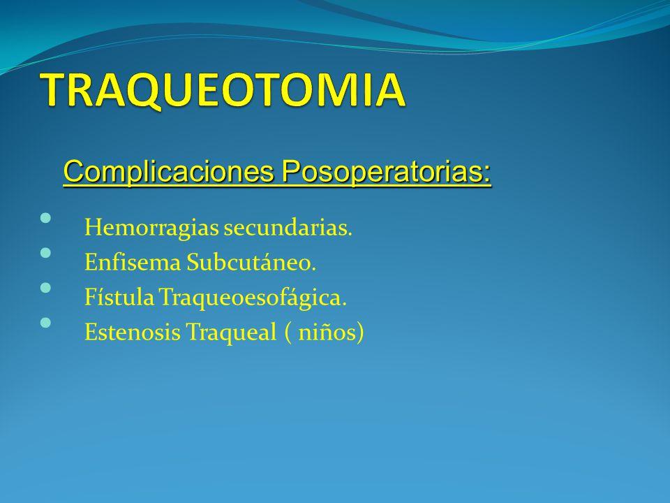 TRAQUEOTOMIA Complicaciones Posoperatorias: Hemorragias secundarias.