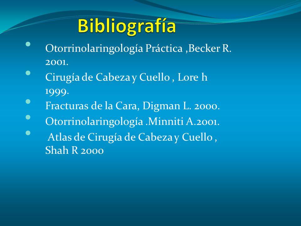 Bibliografía Otorrinolaringología Práctica ,Becker R. 2001.