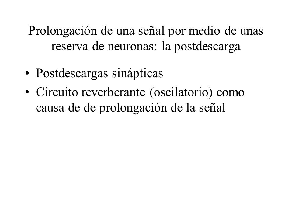 Prolongación de una señal por medio de unas reserva de neuronas: la postdescarga