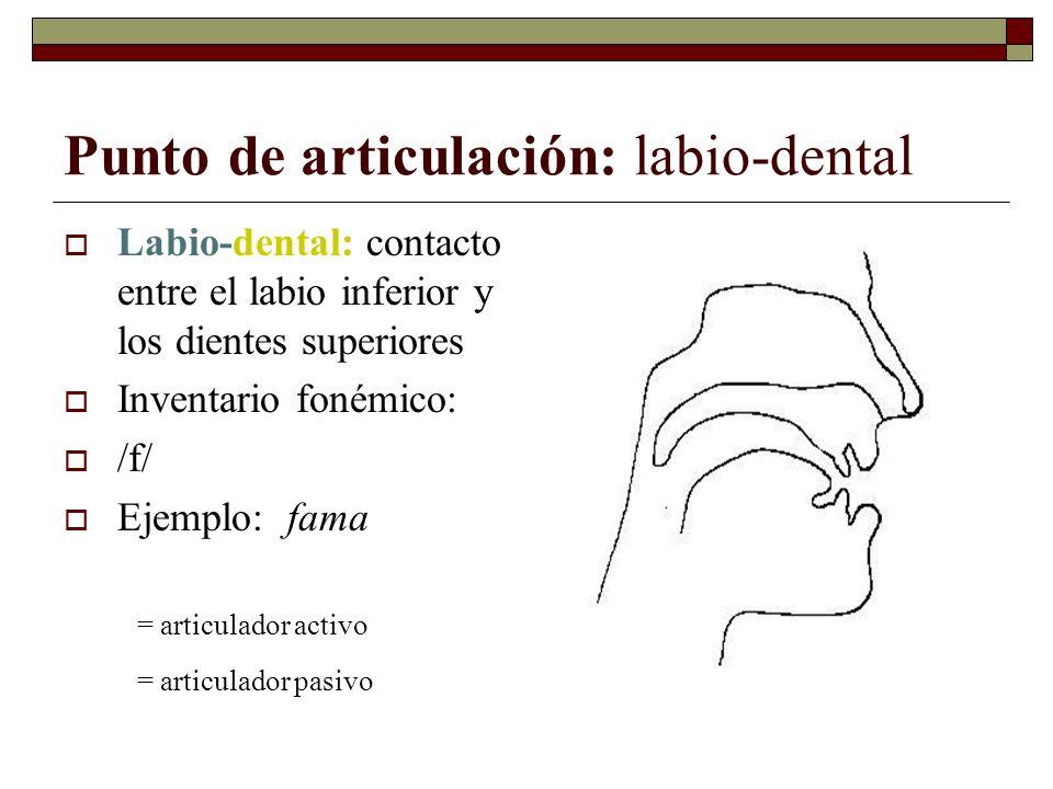 Punto de articulación: labio-dental