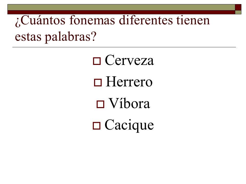 ¿Cuántos fonemas diferentes tienen estas palabras