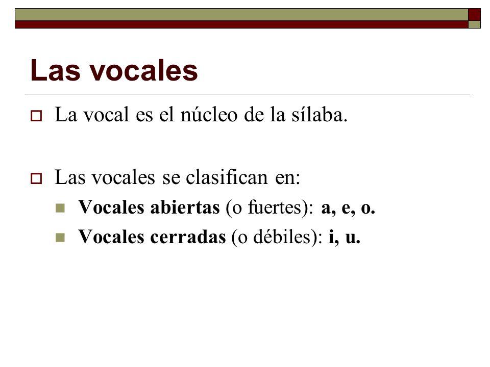 Las vocales La vocal es el núcleo de la sílaba.