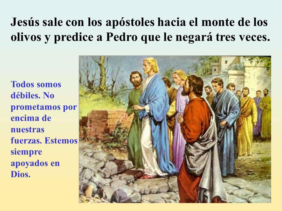 Jesús sale con los apóstoles hacia el monte de los olivos y predice a Pedro que le negará tres veces.