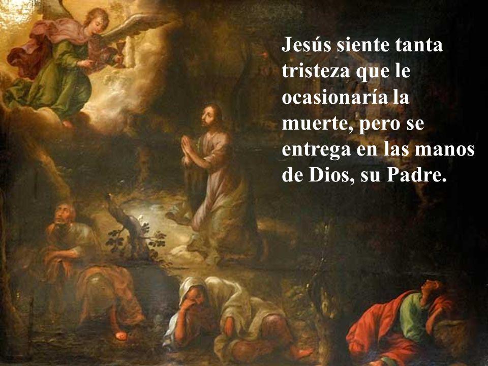 Jesús siente tanta tristeza que le ocasionaría la muerte, pero se entrega en las manos de Dios, su Padre.