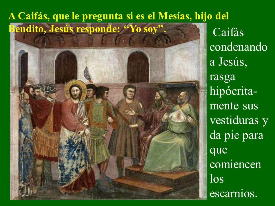 A Caifás, que le pregunta si es el Mesías, hijo del Bendito, Jesús responde: Yo soy .