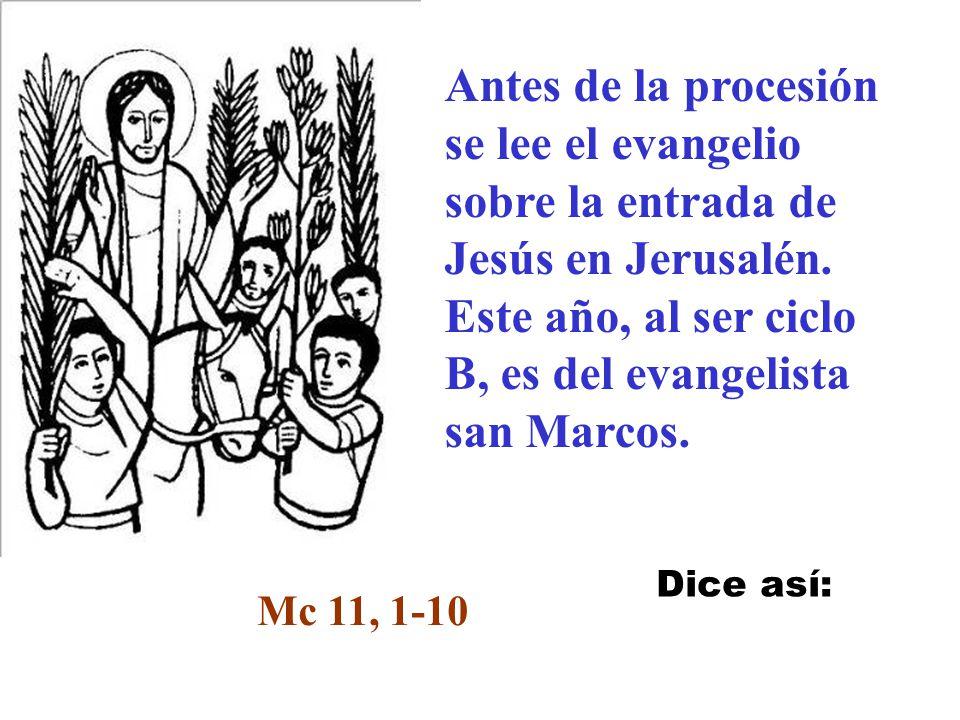 Antes de la procesión se lee el evangelio sobre la entrada de Jesús en Jerusalén. Este año, al ser ciclo B, es del evangelista san Marcos.