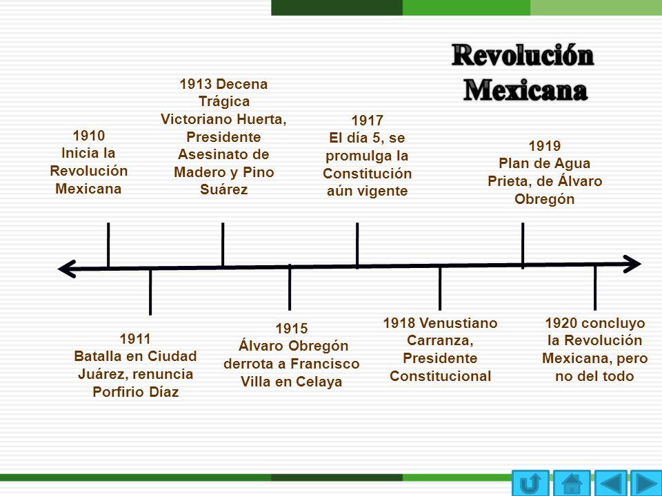 Revolución Mexicana. 1913 Decena Trágica Victoriano Huerta, Presidente Asesinato de Madero y Pino Suárez.