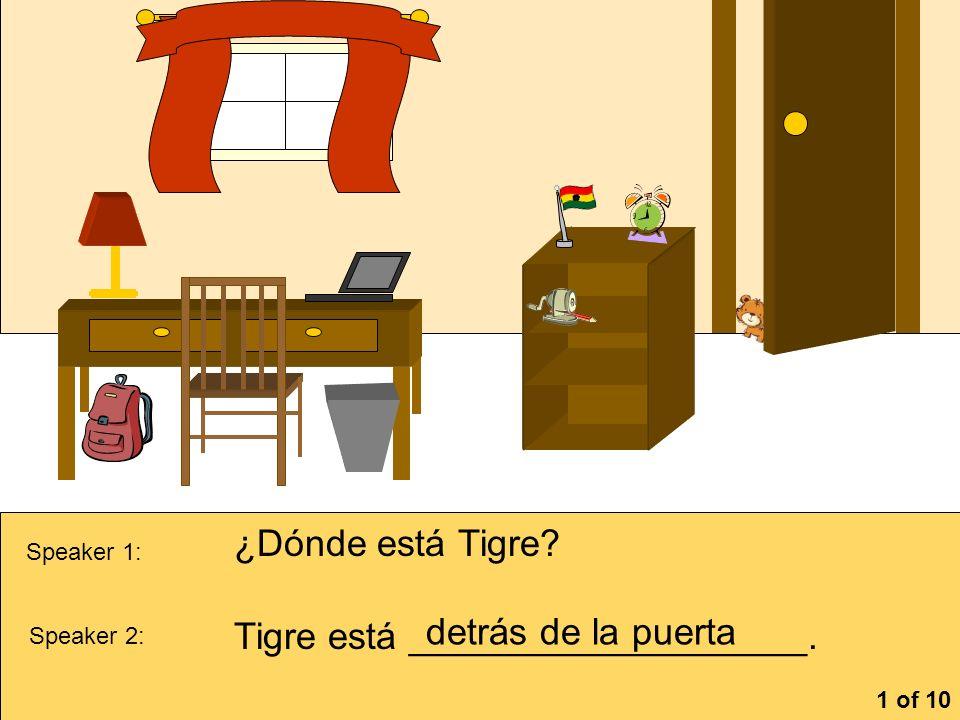 Tigre está ___________________. detrás de la puerta