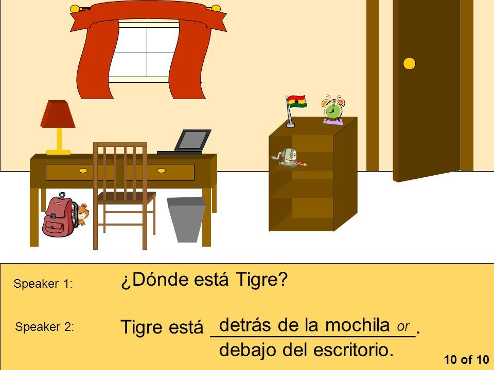 Tigre está ___________________. detrás de la mochila or