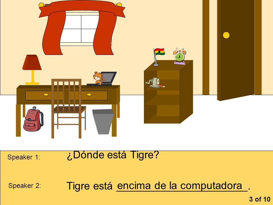 Tigre está ______________________. encima de la computadora