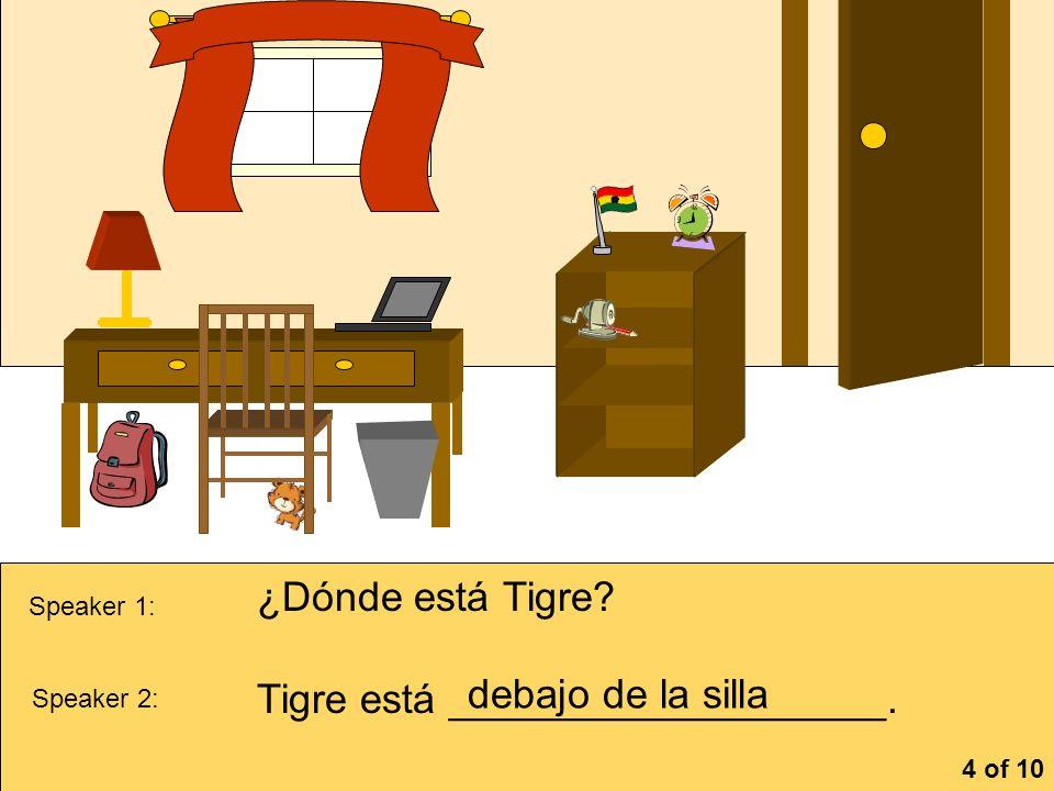 Tigre está ___________________. debajo de la silla