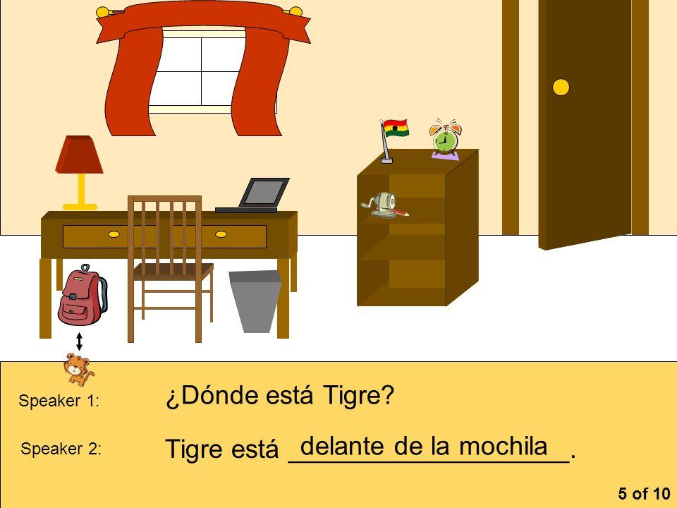 Tigre está ___________________. delante de la mochila