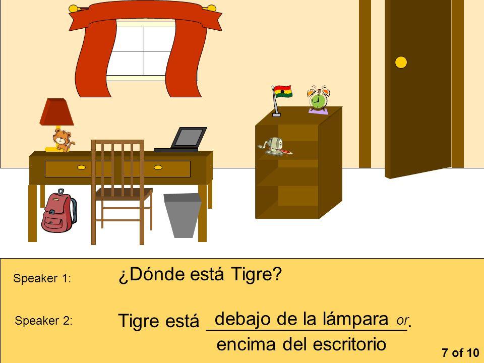 Tigre está ___________________. debajo de la lámpara or