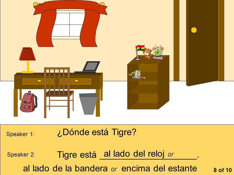 Tigre está ___________________. al lado del reloj or