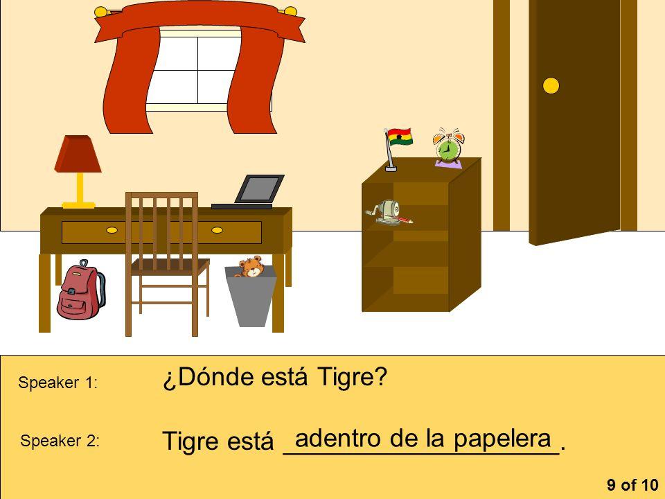 Tigre está ___________________. adentro de la papelera