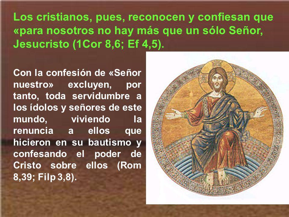 Los cristianos, pues, reconocen y confiesan que «para nosotros no hay más que un sólo Señor, Jesucristo (1Cor 8,6; Ef 4,5).