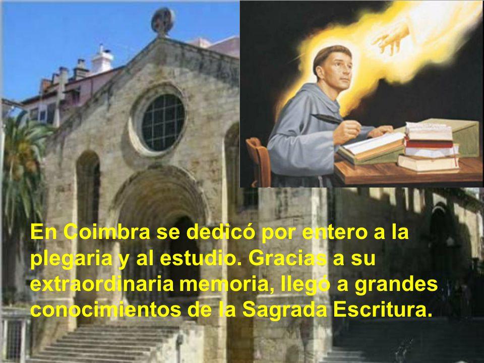 En Coimbra se dedicó por entero a la plegaria y al estudio