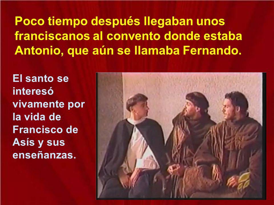 Poco tiempo después llegaban unos franciscanos al convento donde estaba Antonio, que aún se llamaba Fernando.