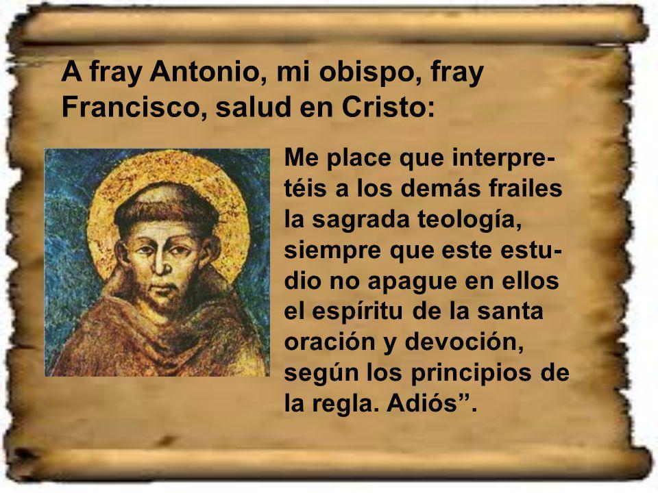 A fray Antonio, mi obispo, fray Francisco, salud en Cristo: