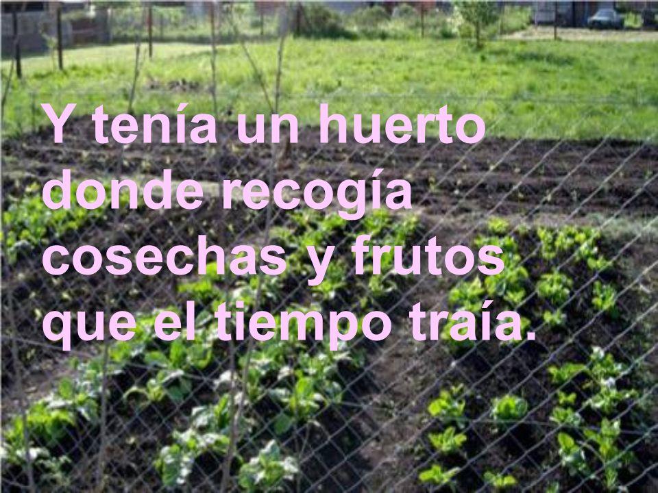 Y tenía un huerto donde recogía cosechas y frutos que el tiempo traía.