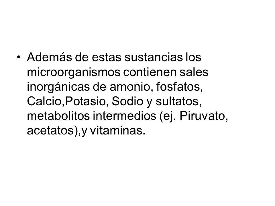 Además de estas sustancias los microorganismos contienen sales inorgánicas de amonio, fosfatos, Calcio,Potasio, Sodio y sultatos, metabolitos intermedios (ej.