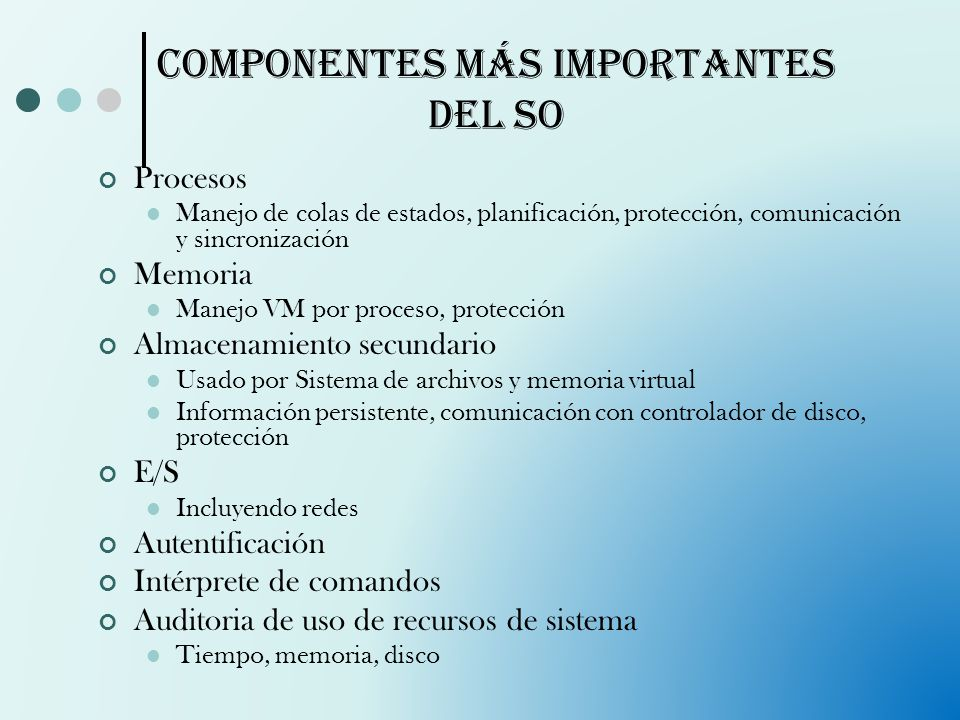 Componentes más importantes del SO