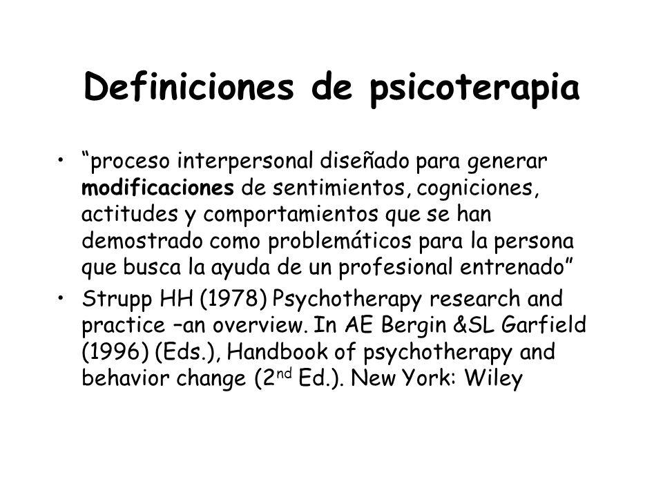 Definiciones de psicoterapia