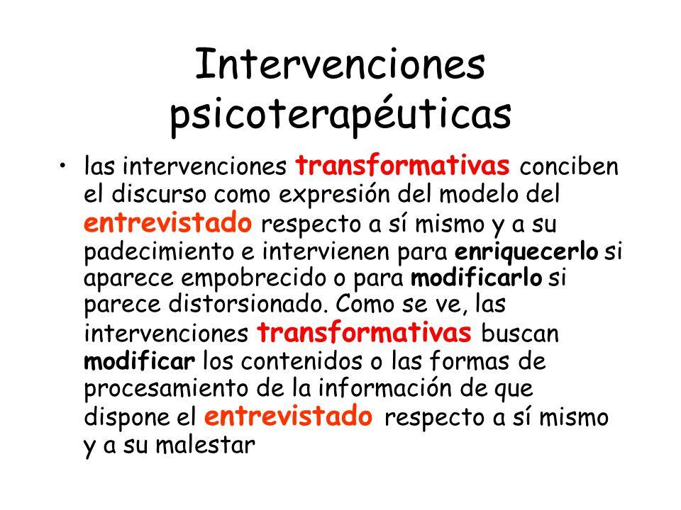 Intervenciones psicoterapéuticas