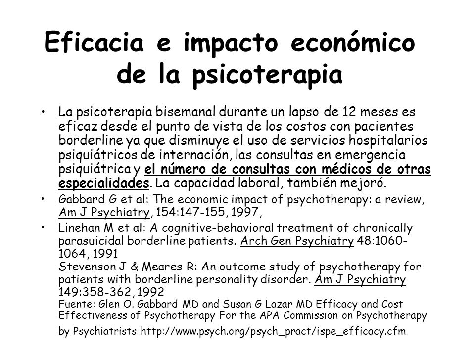 Eficacia e impacto económico de la psicoterapia