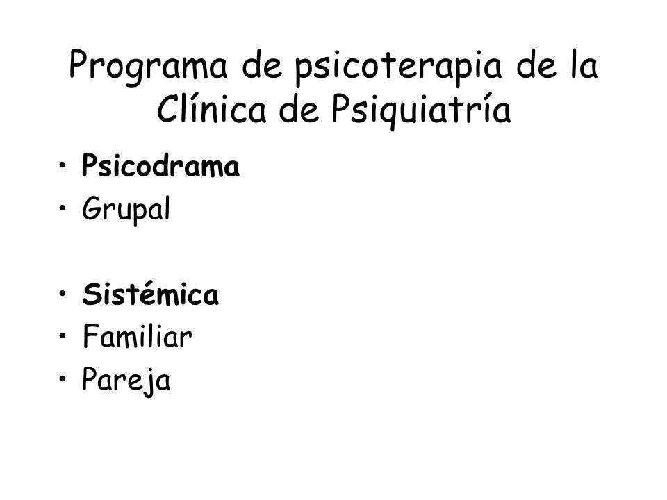 Programa de psicoterapia de la Clínica de Psiquiatría