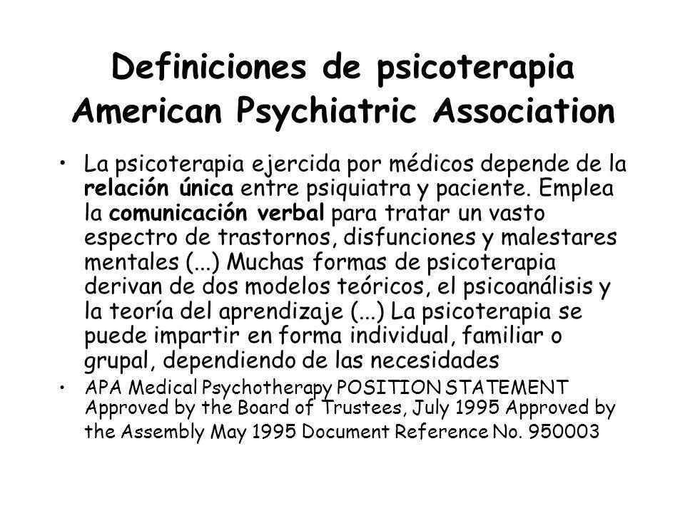 Definiciones de psicoterapia American Psychiatric Association