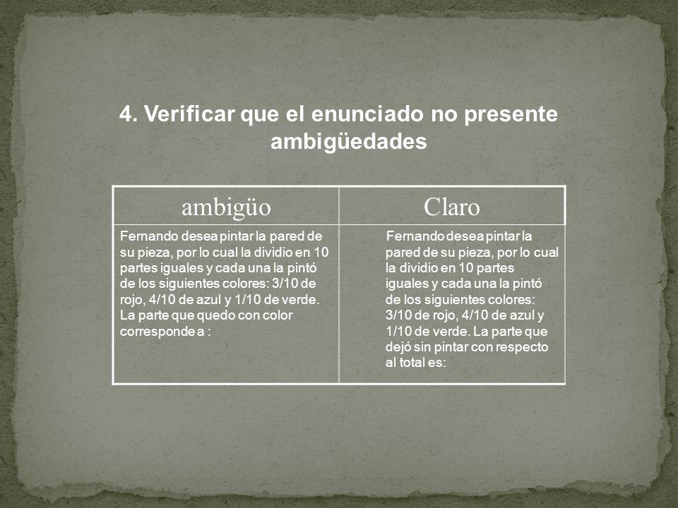 4. Verificar que el enunciado no presente ambigüedades