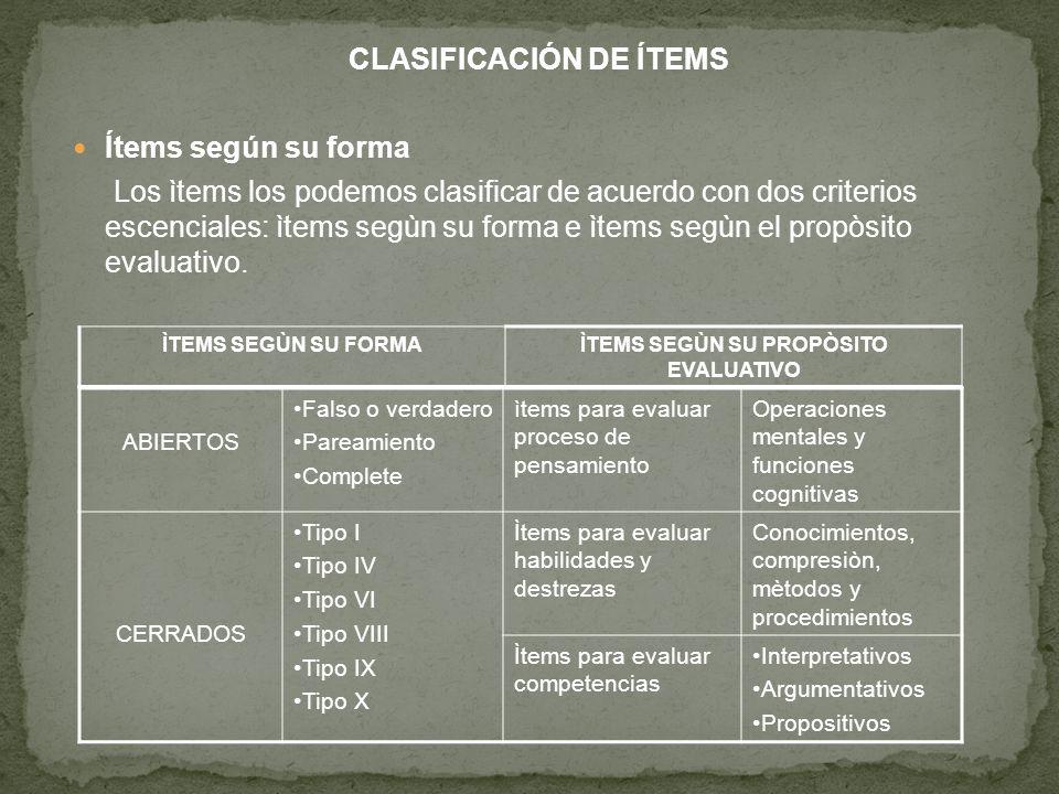 CLASIFICACIÓN DE ÍTEMS ÌTEMS SEGÙN SU PROPÒSITO EVALUATIVO