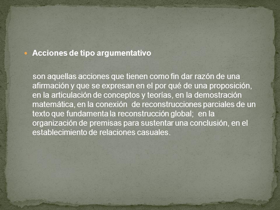 Acciones de tipo argumentativo