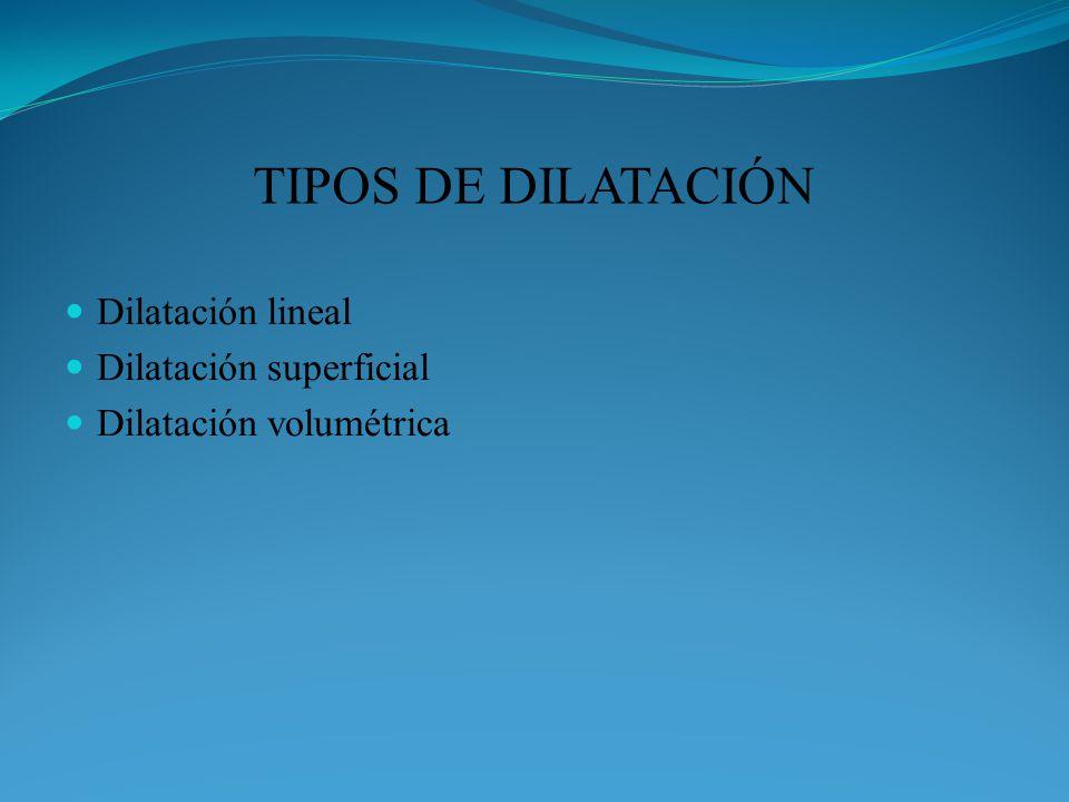 TIPOS DE DILATACIÓN Dilatación lineal Dilatación superficial