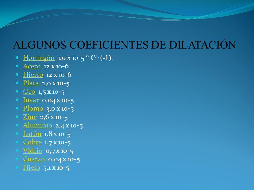 ALGUNOS COEFICIENTES DE DILATACIÓN