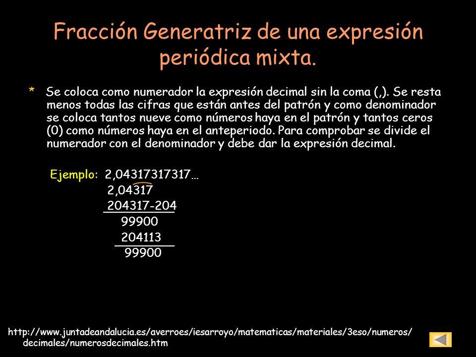 Fracción Generatriz de una expresión periódica mixta.