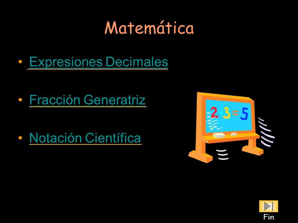 Matemática Expresiones Decimales Fracción Generatriz